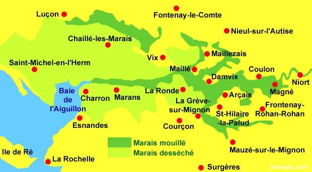 carte du marais poitevin Domaine de Pégon